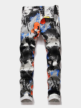 Graffiti Printed Chic Mid Waist Jeans For Men