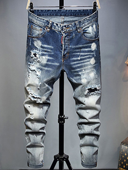 Distressed Fashion Casual Hollow Out Jeans