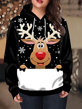 Cute Hooded Collar Plus Size Christmas Sweater