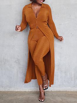 Button Long Coat 2 Piece Pants Sets