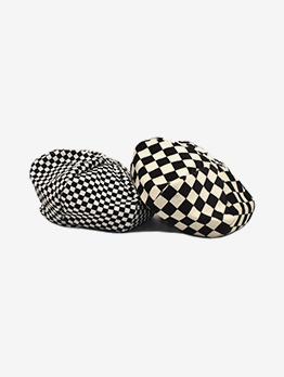Fashion Contrast Color Plaid Beret Hat