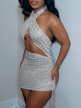 Night Club Sequined Halter Sheath Dress