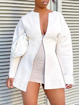 Casual White Long Sleeve Coats For Women