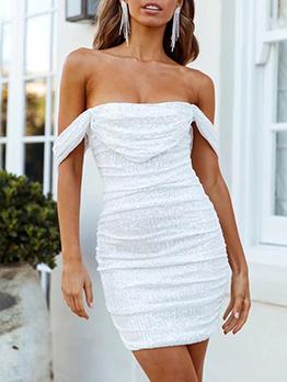 Elegant Sequined Black White Short Party Dresses