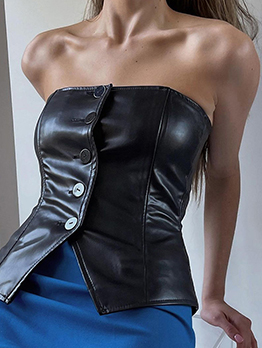 Cool Black Button Strapless Tank Top For Ladies