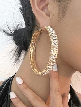 Chic Simple Rhinestone Round Design Earrings