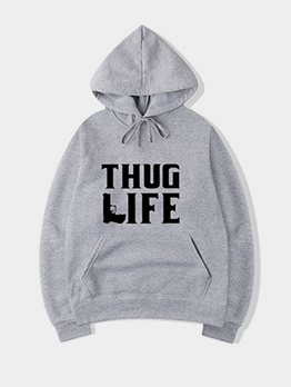 Casual Autumn Plush Letter Printed Hoodies