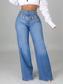 Sexy Mid Waist Pure Wide Leg Women Jeans