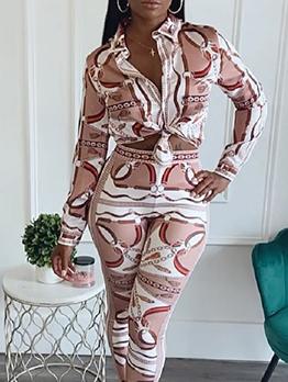 Fashion Digital Printing Autumn Two Pieces Pants Set