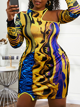 Plus Size Cold Shoulder Print Long Sleeve Dress
