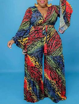 Multicolored Print 2 Piece Plus Size Pant Set