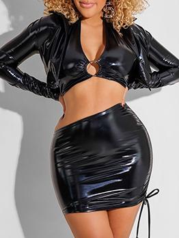 Sexy Nightclub Pu Three Pieces Skirt Set