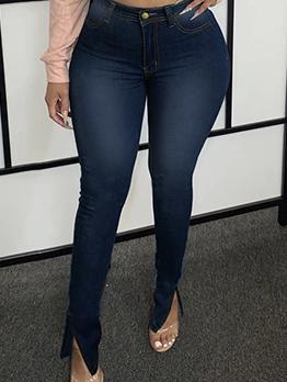 Popular Slit High Waist Jeans For Women