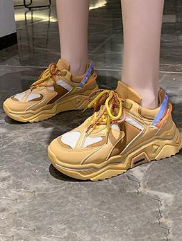 Versatile Contrast Color Wedge Sneakers Shoes