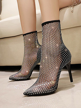 Point Toe Transparent Rhinestone Ankle Boots