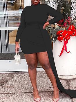 Individual Solid Long Sleeve Irregular Dress Women