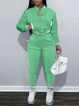 Fashion Casual Baseball Two Pieces Pants Set