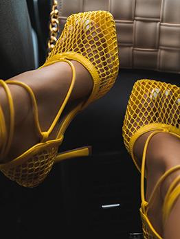 New Square Toe Gauze High Heels Sandals