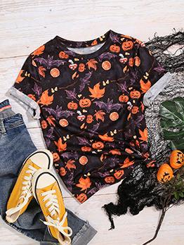 Popular Pumpkin Print Halloween T Shirt