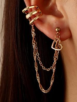 Hip Hop Solid Heart Multiple Chain Earrings