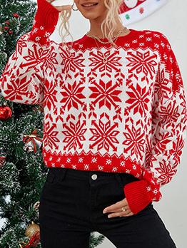 Christmas Snowflake Long Sleeve Knitting Sweater