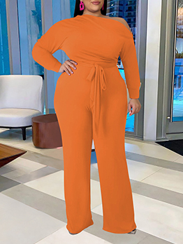Plus Size Inclined Shoulder Two Piece Outfits