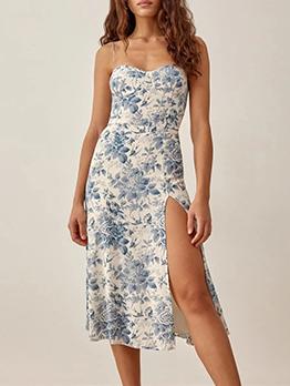 French Style Floral Slit Spaghetti Strap  Sleeveless Dresses