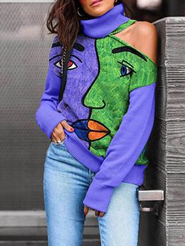 Turtle Neck Contrast Color Cold Shoulder Sweater