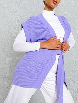 Casual V Neck Tie Wrap Knitting Coat