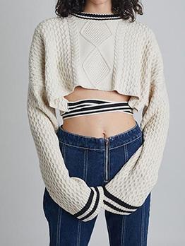 Chic Striped Cropped Tie Wrap Women Sweater