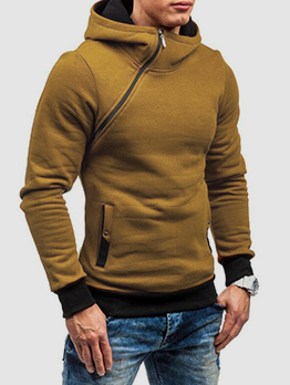 Easy Matching Autumn Pure Color Men Plush Hoodies