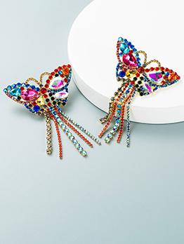 Party Multicolored Butterfly Tassel Long Earrings
