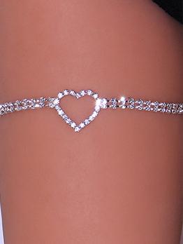 Shinny Rhinestone Heart Double Layer Body Chain