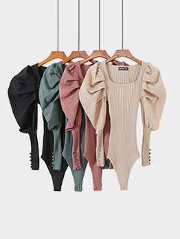 Particular Solid Puff Sleeve Square Neck Bodysuit