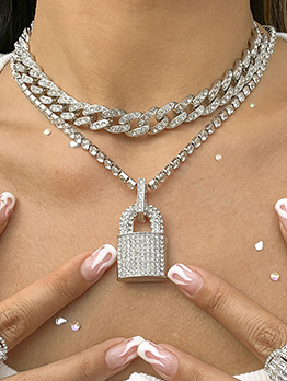 Particular Rhinestone Lock Hollow Out Thick Chain Necklace