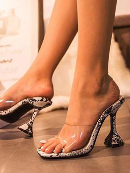 Square Toe Snake Print Slip On Heels