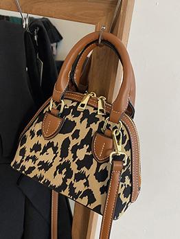 Ladies Leopard  Vintage Black Shoulder Bag Handbag