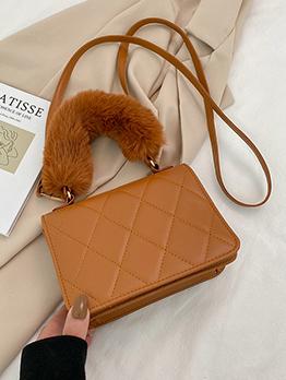 Korean Rhombus Lattice Fluffy Handle Ladies Handbag
