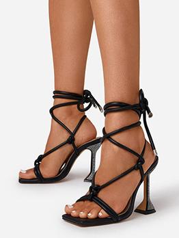 Goblet Heel Lace Up Ankle Strap Sandals