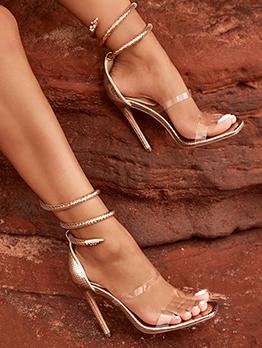 Night Club Snake Design Square Toe Sandals