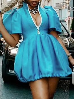 Lovely Puff Sleeve Blue Half Zipper Short Sleeve Dress