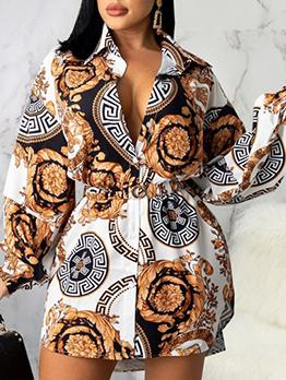 Fashion Printed Latest Style Long Sleeve Dress
