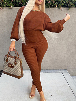 Solid Casual Skinny Two Pieces Pants Set