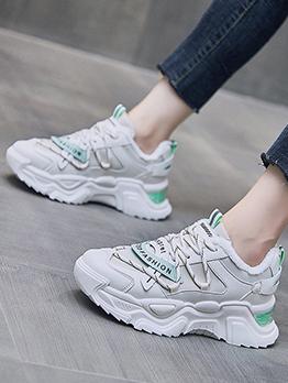 Versatile Letter Contrast Color Plush Sneakers