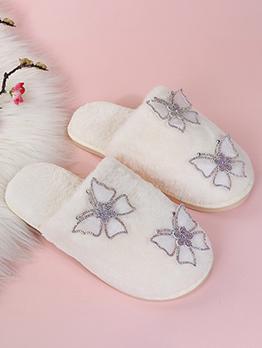 Cute Plush Rhinestone Butterfly Homewear Slippers