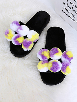 Cute Soft Contrast Color Ball Fluffy Slippers