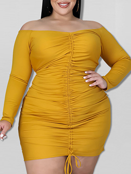 Casual Solid Drawstring Plus Size Short Dress