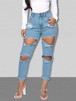 Plus Size Mid Waist Hole Jeans For Women