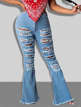 Street Ripped Mid Waist Bootcut Women Jeans