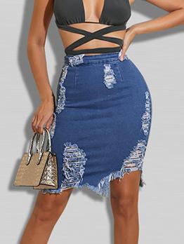 Autumn Irregular Ripped High Waist Denim Skirt